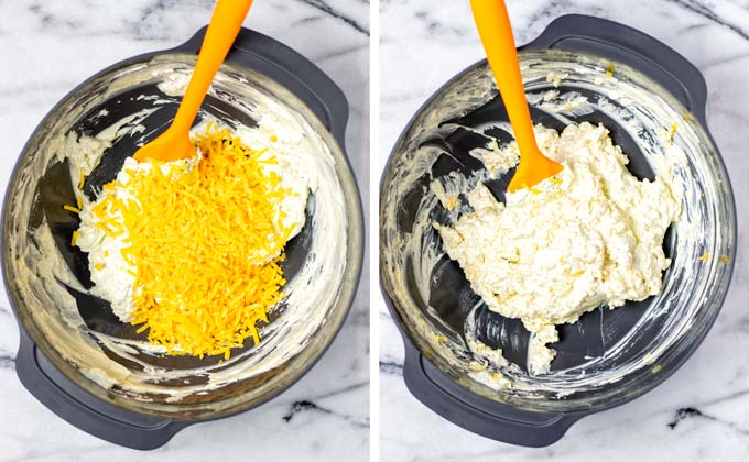 Mixing vegan cheddar shreds into the dip.