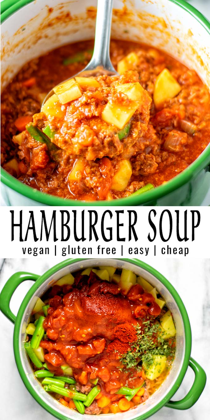 Filling and satisfying, this Hamburger Soup is made with simple ingredients and will always hit the spot. Everyone will love it, and you have a keeper that the whole family can count on. #vegan #dairyfree #vegetarian #glutenfree #dinner #lunch #mealprep #contentednesscooking #hamburgersoup