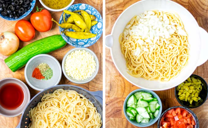 Main ingredients of this easy cold Spaghetti Salad.