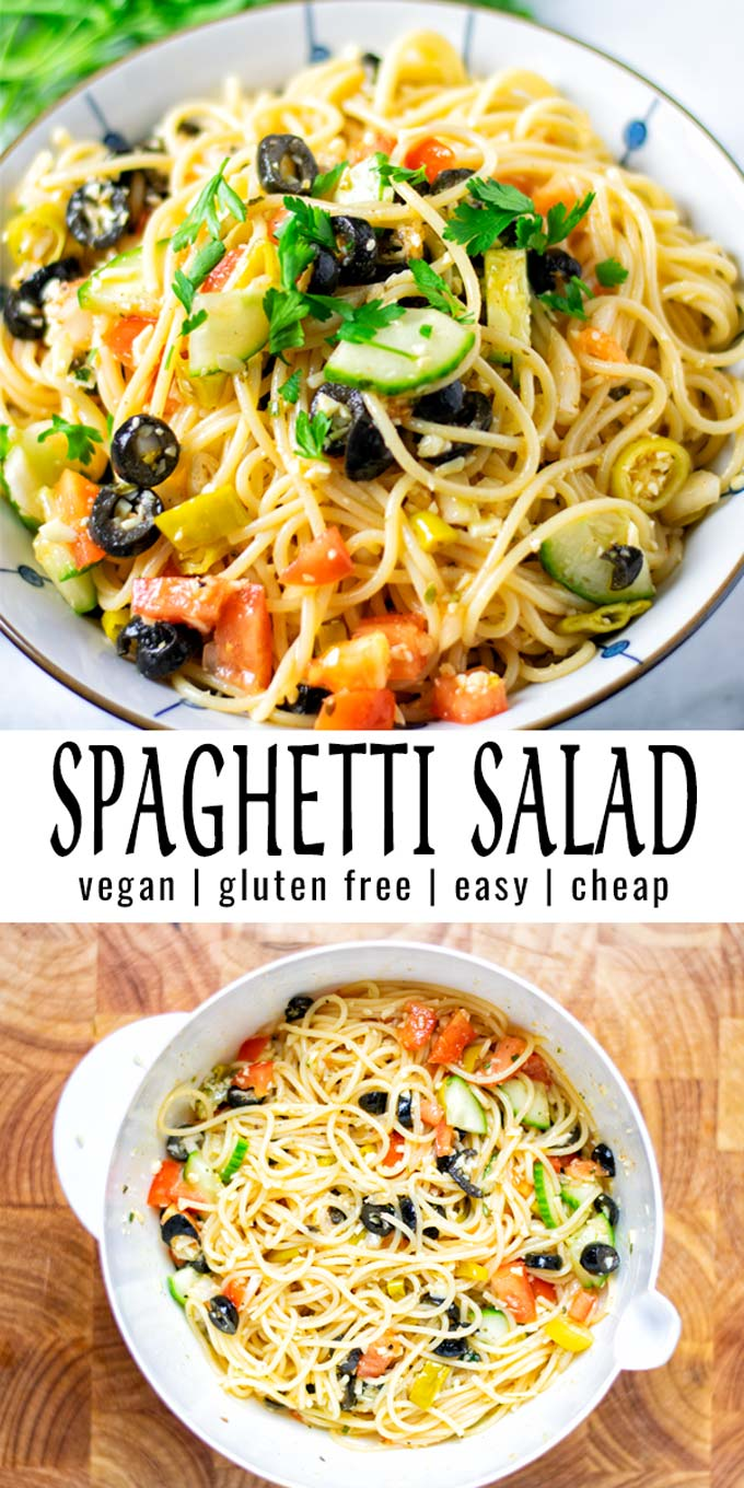 Full of flavor and so easy to make: this Spaghetti Salad is a keeper, ready in 10 minutes, which the whole family will love in no time. #vegan #dairyfree #glutenfree #vegetarian #contentednesscooking #dinner #lunch #mealprep #spaghettisalad #italianpastasalad