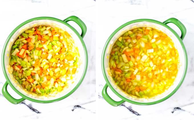 Step 1: Sauteing onions, carrots, garlic, celery.