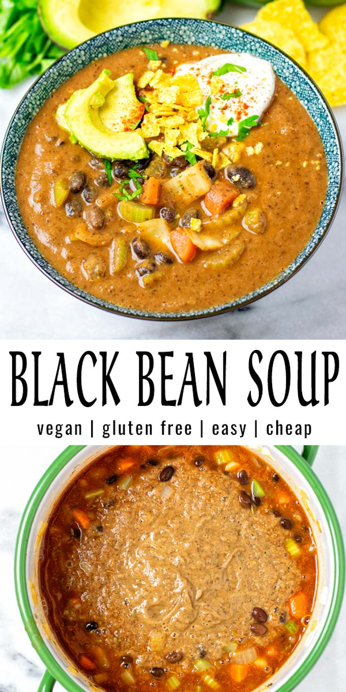 Easy, budget friendly and full of flavor: this Black Bean Soup is a keeper that the whole family will enjoy. It is ready in under 20 minutes and will save you a good amount of time using canned black beans. #vegan #dairyfree #glutenfree #vegetarian #dinner #lunch #mealprep #contentednesscooking #blackbeansoup #20minutemeals