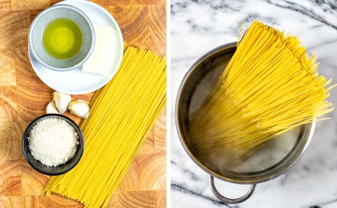 Ingredients needed for making this Cacio e Pepe recipe.