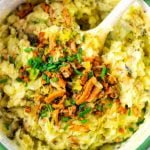Chives are an amazing garnish for this vegan Colcannon.