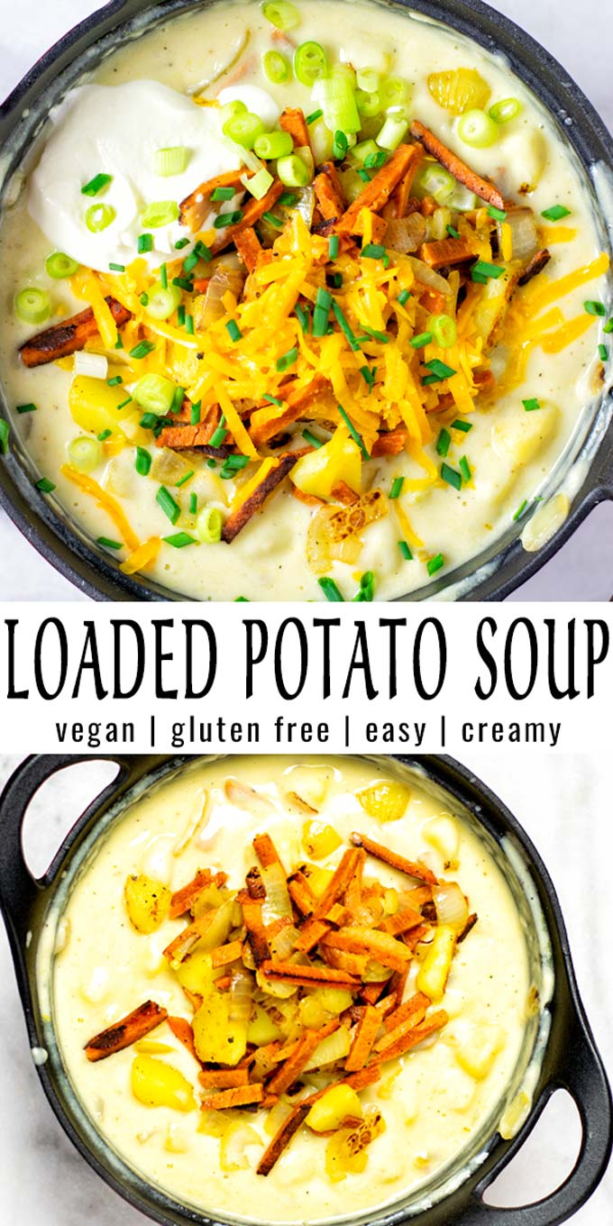 Easy and super satisfying: this Loaded Potato Soup is a keeper that the whole family will devour in no time. Even the pickiest kids will eat it up, satisfying, easy and no one would ever taste it is vegan. #vegan #dairyfree #glutenfree #vegetarian #dinner #lunch #mealprep #contentednesscooking #potatosoup #loadedpotatosoup