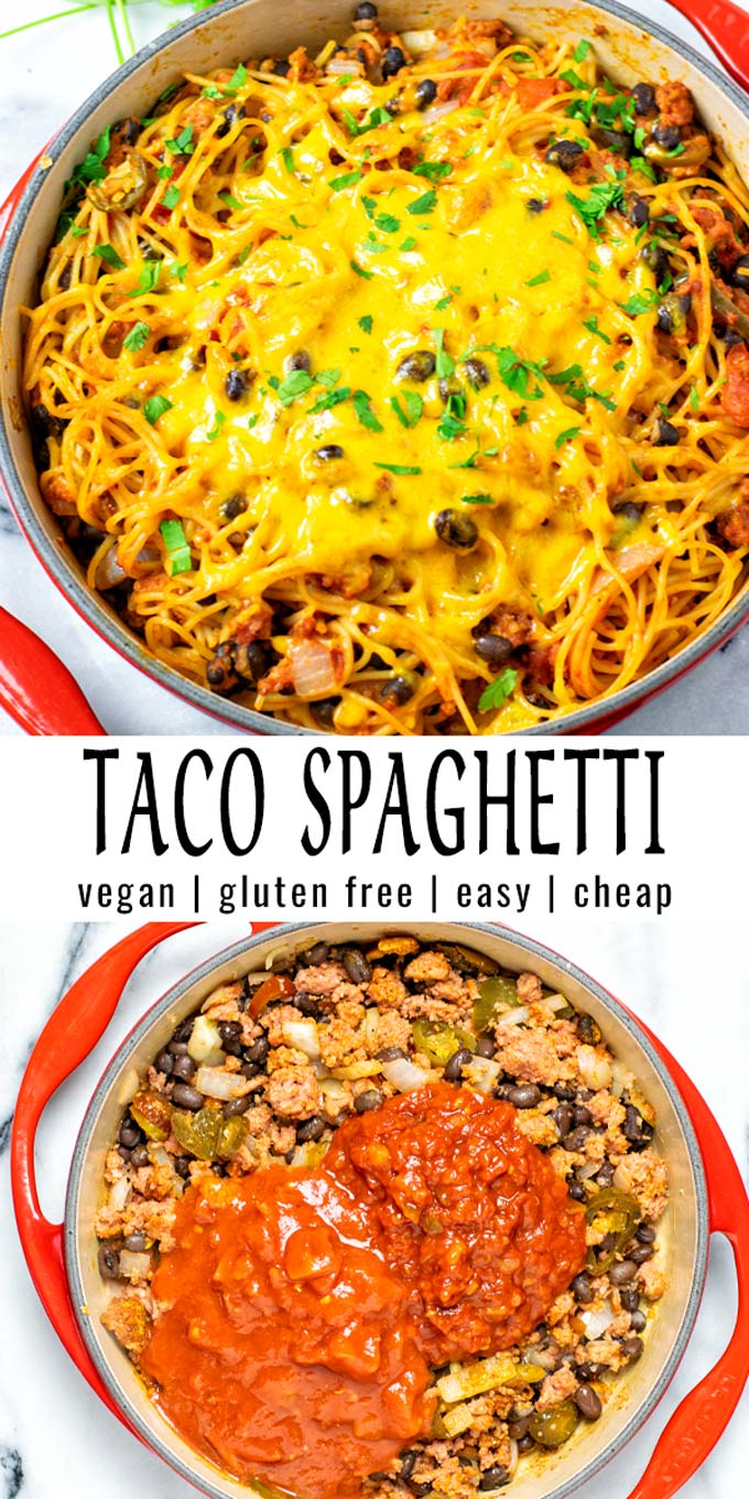 These Taco Spaghetti are really easy to prepare and filling. Minimal preparation, rich in flavor that the whole family will love. A keeper that no one would ever guess it is vegan. #vegan #dairyfree #vegetarian #glutenfree #dinner #lunch #mealprep #contentednesscooking #tacospaghetti