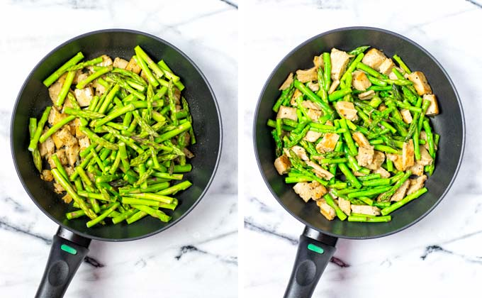 Adding the green asparagus tips to the sauce pan with the vegan chicken.