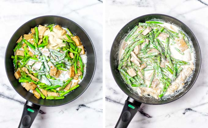 Mixing in the vegan cream with the asparagus and chicken in the sauce pan.