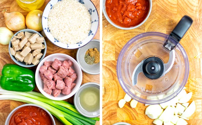Ingredients needed for this Jambalaya Rice recipe.