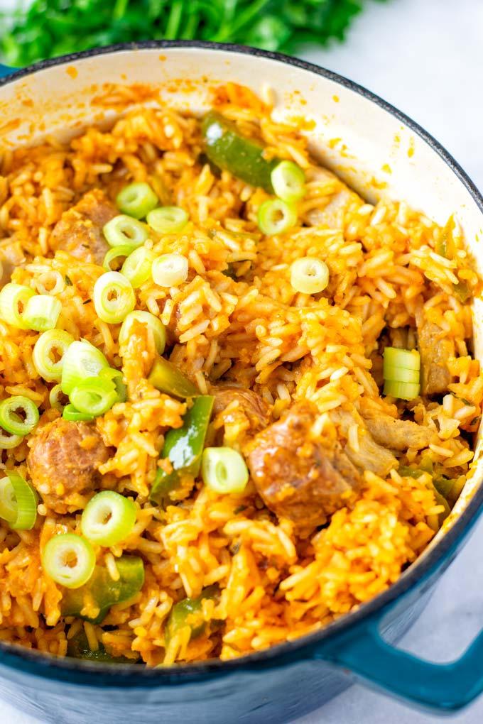Vegan Jambalaya Rice in a big pot.