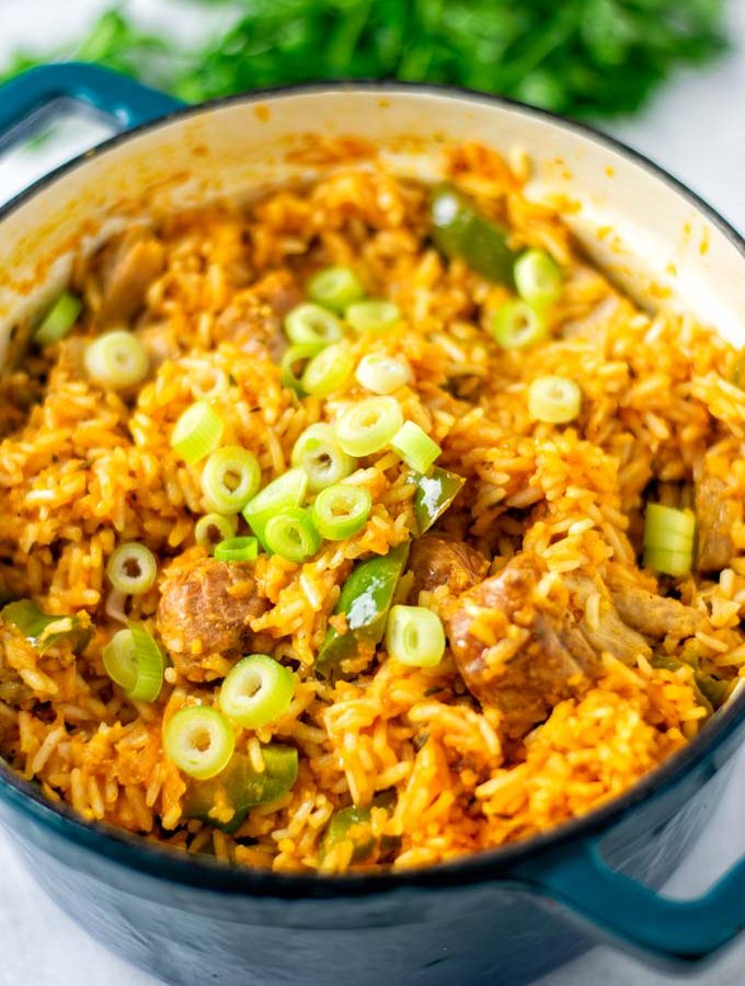Closeup view of the Jambalaya Rice showing the rice, vegan meat, and fresh scallions.