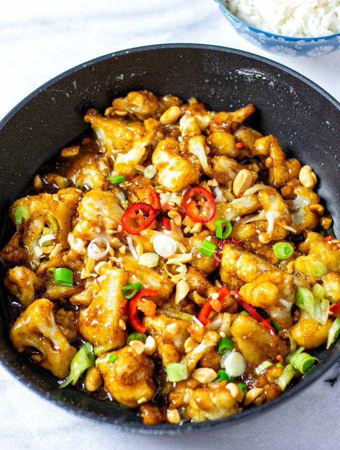 Closeup view on the Kung Pao Cauliflower.