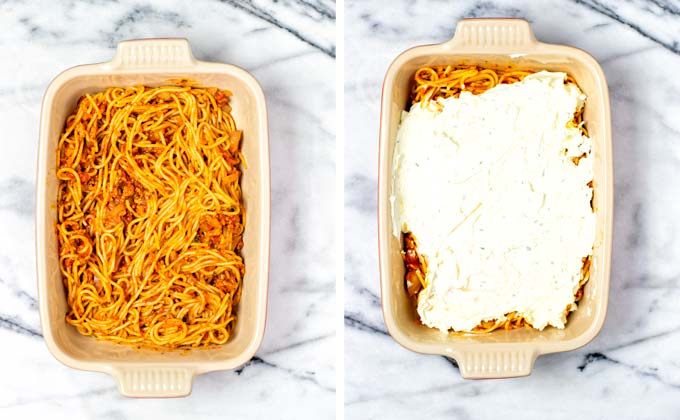 Step 4: Layering the Million Dollar Spaghetti in a large casserole.