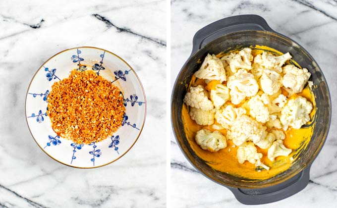 Cauliflower florets are given into a bowl with the Wing Sauce marinade.