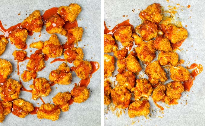 Cauliflower florets are covered in extra Wing sauce .on the baking sheet.