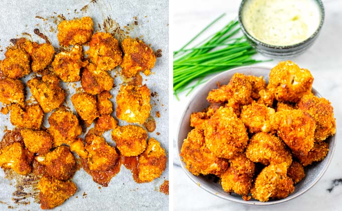 Cauliflower Wings after baking on a baking sheet and in a serving bowl.