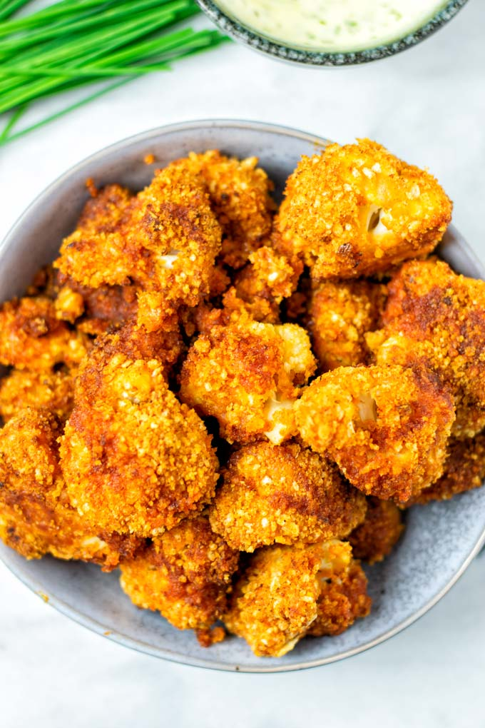 Closeup on Cauliflower Wings in a bowl.