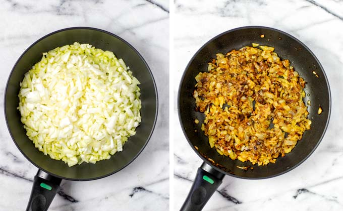 Before and after pictures of caramelizing the diced onions in a pan.