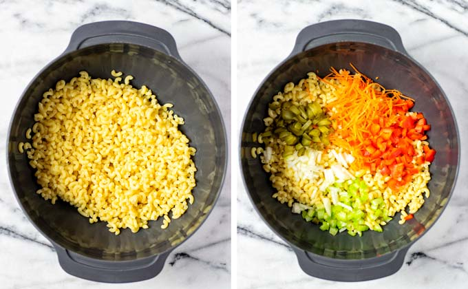 Combining the pasta and vegetable ingredients in a large bowl.