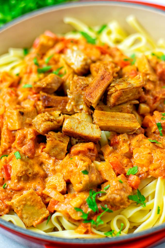 Closeup of the Paprikash with the vegan chicken.