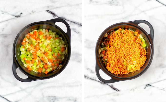 First steps sautéing the vegetables and briefly the uncooked red lentils.