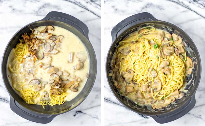 All ingredients for this Tetrazzini are mixed in a large mixing bowl.