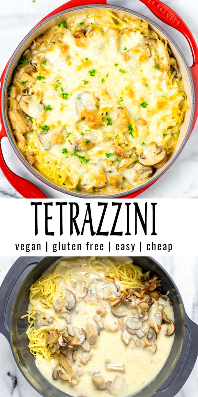 Collage of two pictures of the Tetrazzini with recipe title text.