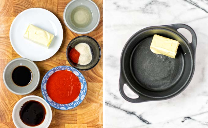 Ingredients for this easy Wing Sauce recipe on a wooden board.