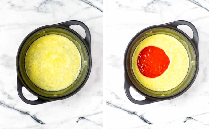 Melted butter and hot sauce are mixed in a sauce pan.