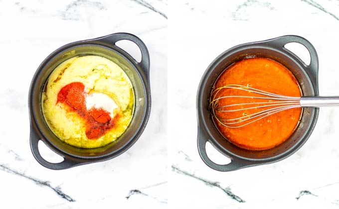 Showing sauce pan before and after whisking and bringing the Wing Sauce to a boil.