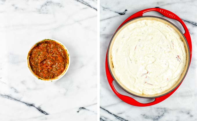 Cream cheese filling is transferred to a casserole dish.