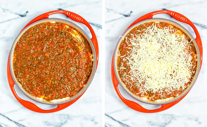 Tomato sauce is given over the filling and topped with vegan Mozzarella shreds.