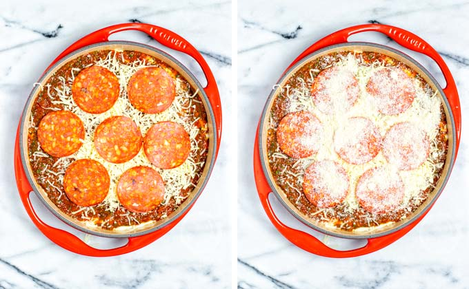 Add vegan pepperoni slices on top, then sprinkle with vegan Parmesan cheese.