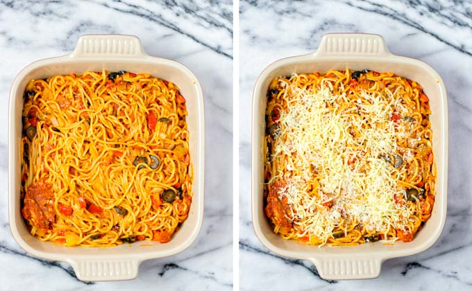 The Pizza Spaghetti mix is transferred to a casserole baking dish and covered in extra vegan cheese.