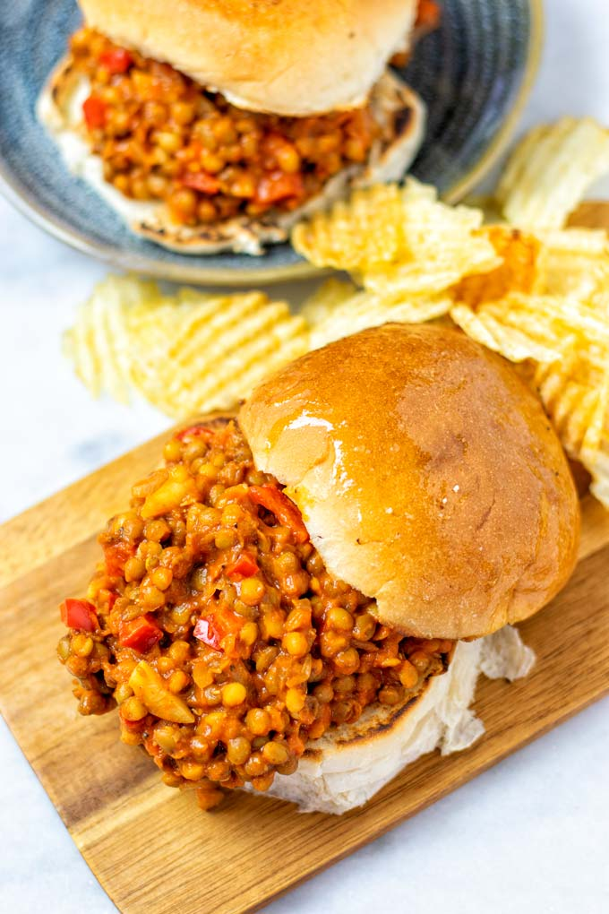 Closeup on an opened Sloppy Joes.