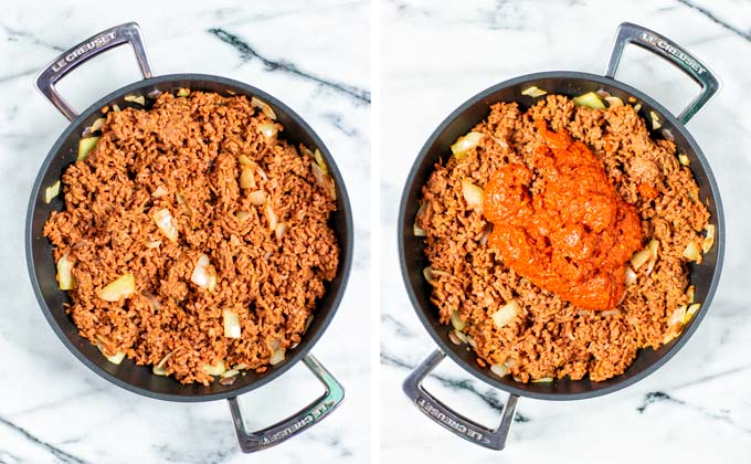 Mixing the chili paste with the ground beef in a pan.