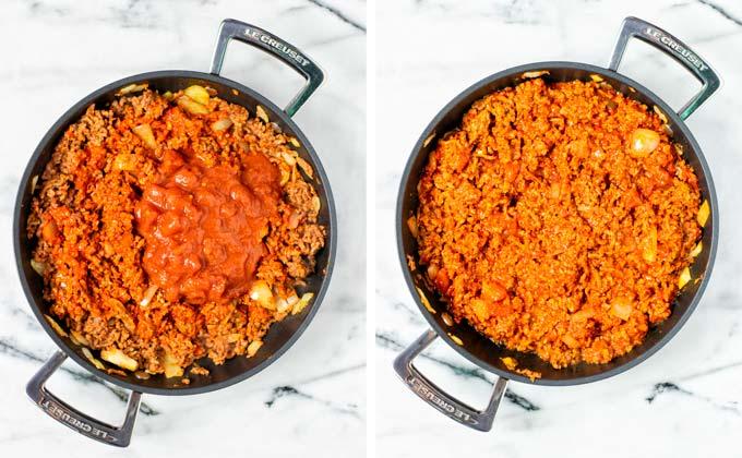 Vegan Texas Chili simmering in a large pan.