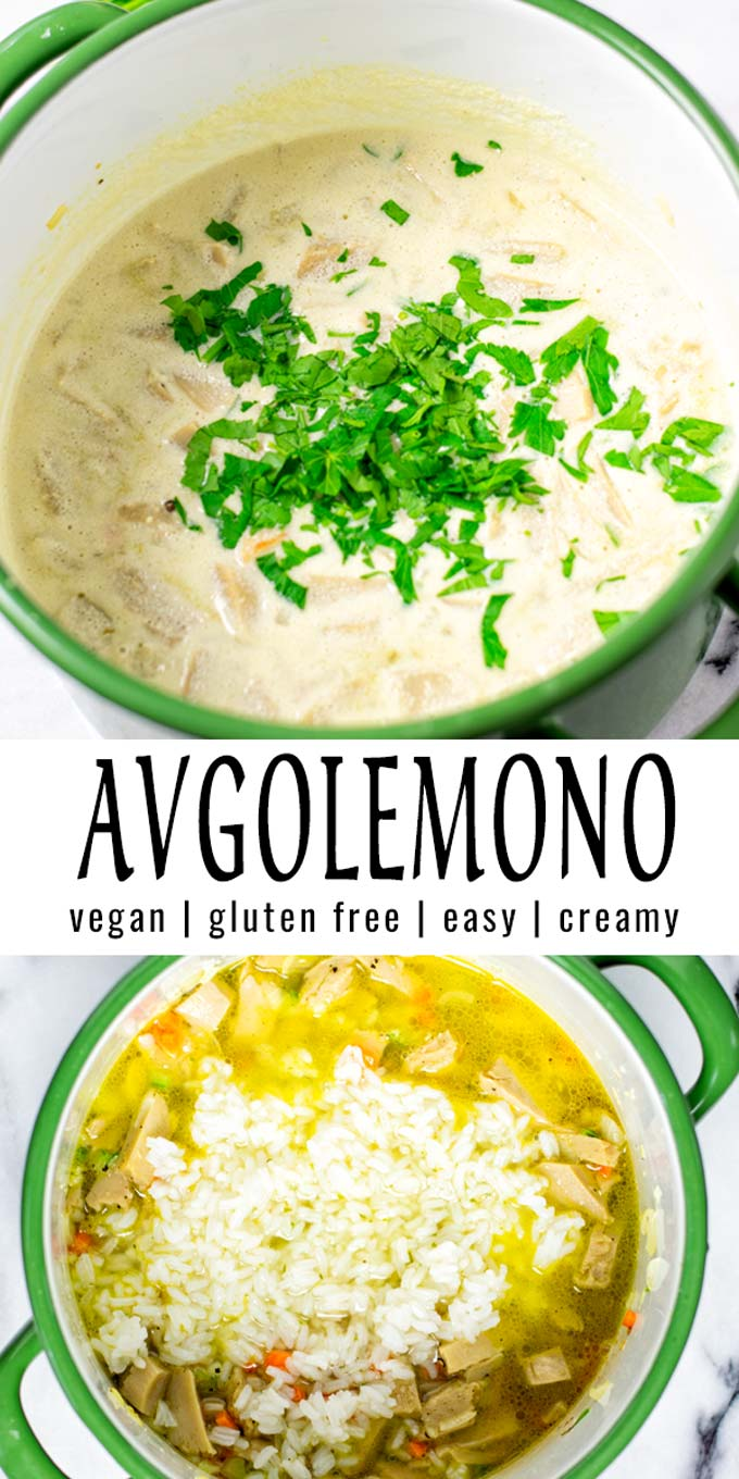 Collage of two pictures of the Avgolemono with recipe title text.