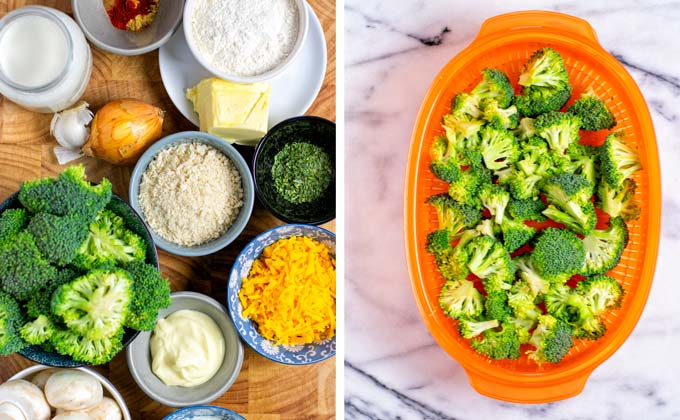 Ingredients needed for this vegan Broccoli Casserole assembled on a board.
