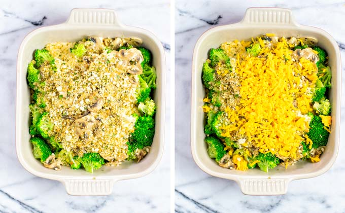 Breadcrumbs and extra vegan cheddar top this Broccoli Casserole.
