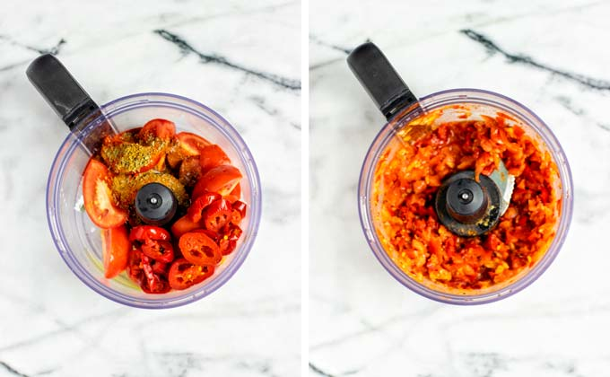 Preparing the tomoato-jalaeno sauce in a food processor before and after.
