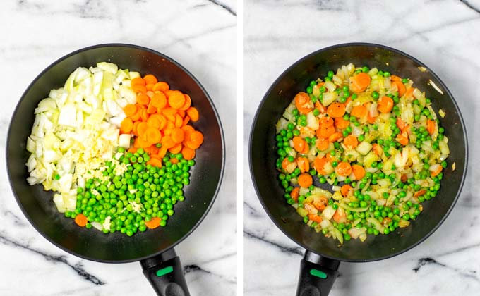 Vegetables (onions, carrots, peas) in a small frying pan before and after frying.
