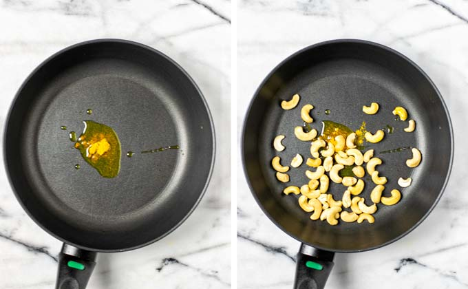 Olive oil is heated in a small pan, mixed with curry powder and cashews for toasting.
