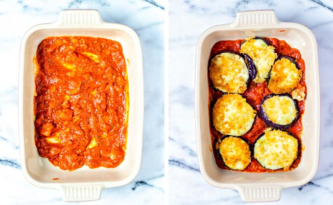 Layering the Eggplant Parmesan in a casserole dish.