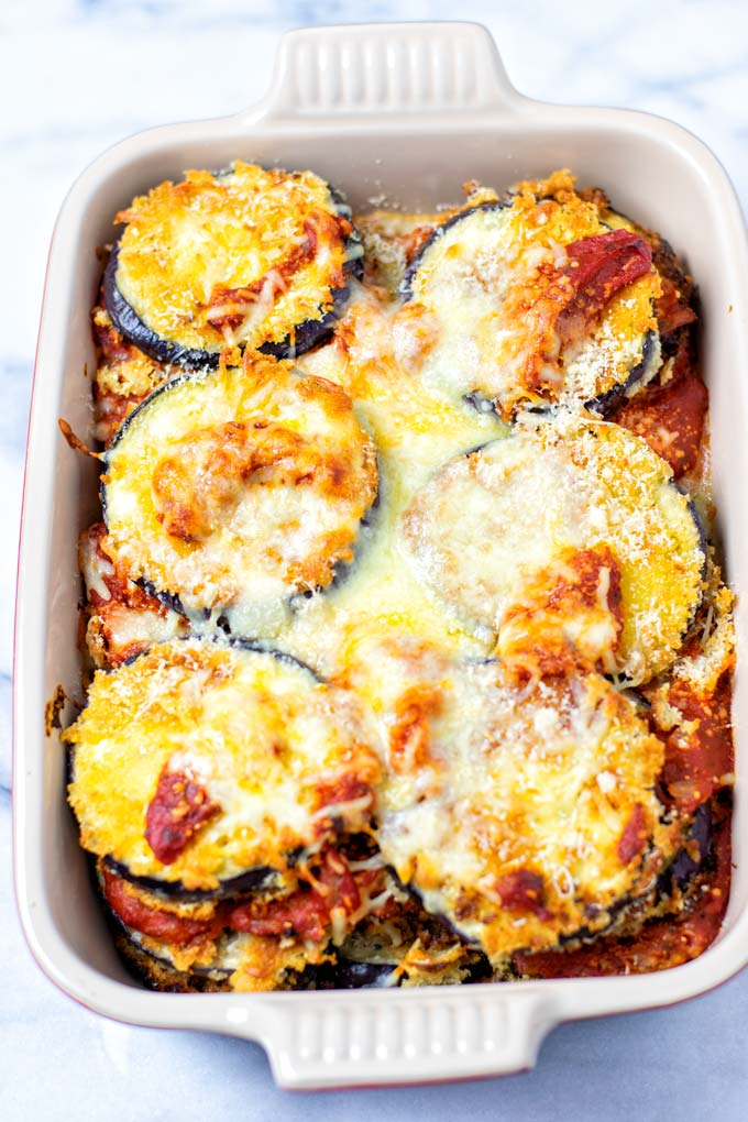 Eggplant Parmesan after baking in a casserole dish.