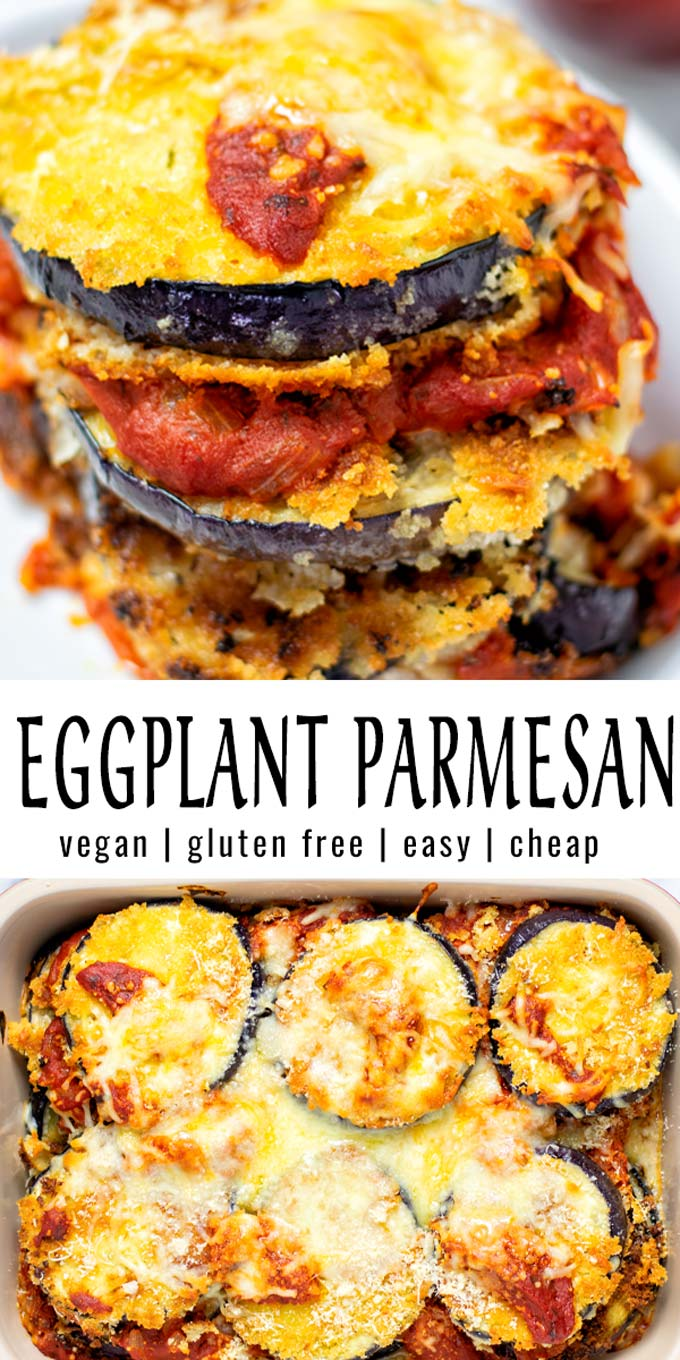 Collage of two pictures of the Eggplant Parmesan with recipe title text.