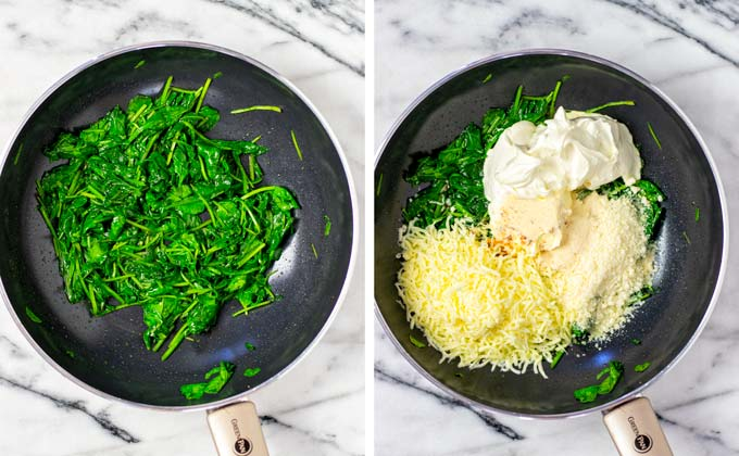 Spinach is sautéed in a sauce pan, then cheesy ingredients are added.