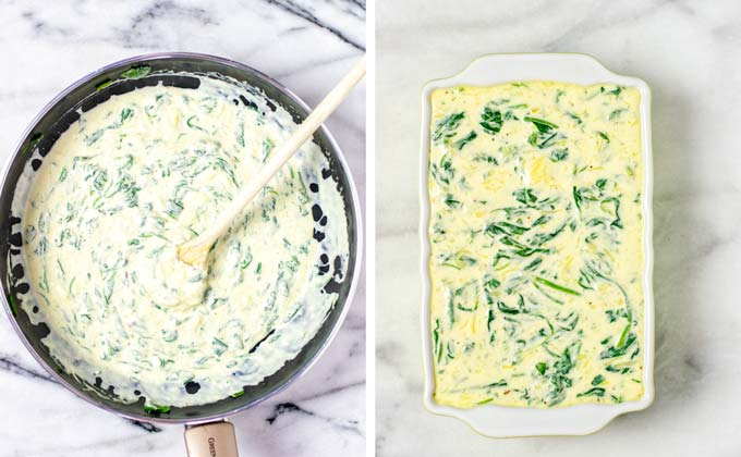 Spinach and cheesy ingredients are mixed in a pan, then transferred to a casserole dish.