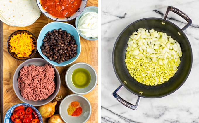 Ingredients needed for this vegan Taco Casserole recipe organized on a wooden board.