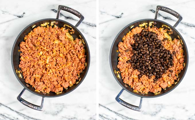 Beans are added to the vegan ground beef mixture in the pan.